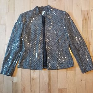 Albert Nipon black white silk blazer sequins sz 8